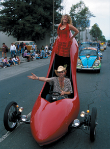 red stiletto art car